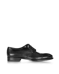 Black Grained Leather Brogue Shoe - Loriblu