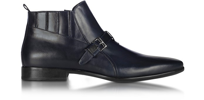 Blue Leather Bootie - Loriblu