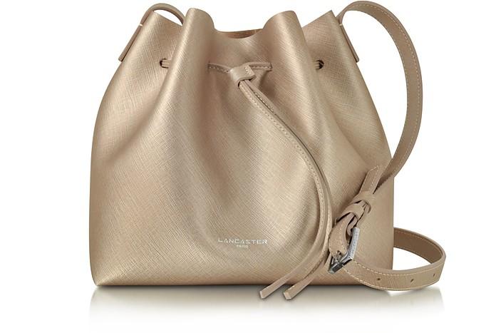 Pur & Element Champagne Pink Saffiano Leather Bucket Bag - Lancaster Paris