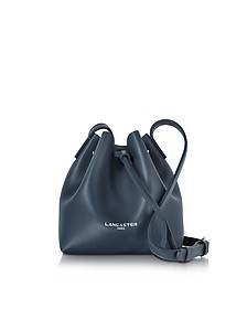 Pur Smooth Dark Blue Leather Mini Bucket Bag - Lancaster Paris