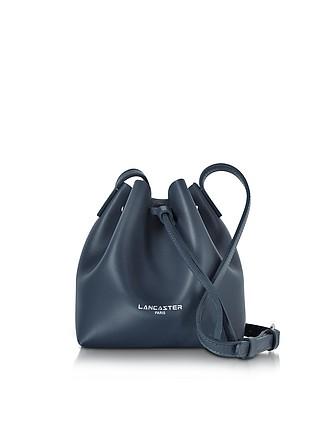 a5debd49dbbb Pur Smooth Dark Blue Leather Mini Bucket Bag - Lancaster Paris
