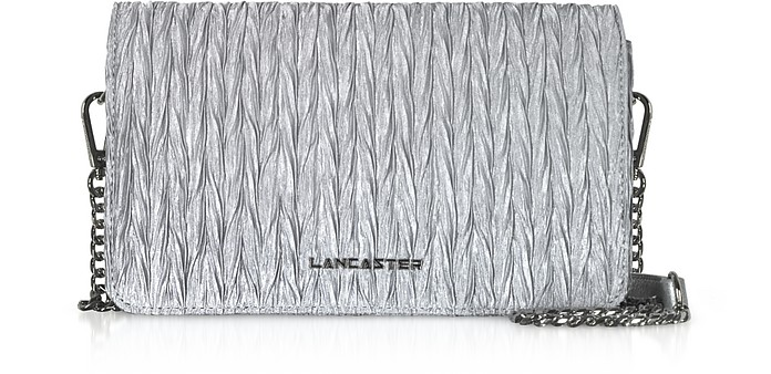 Silver Quilted Satin Shoulder Bag - Lancaster Paris