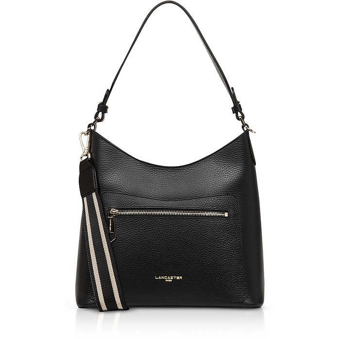 Foulonne Black Grained Cow Leather Shoulder Bag - Lancaster Paris