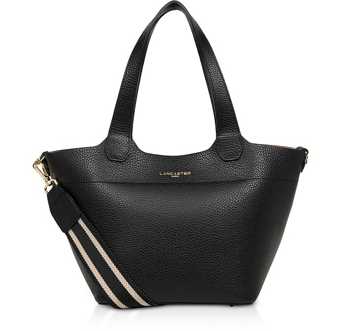 Foulonne Double Black Grained Cow Leather Tote Bag w/Canvas Strap - Lancaster Paris
