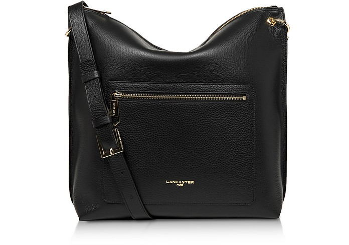 Foulonne Double Black Grained Cow Leather Bucket Bag - Lancaster Paris