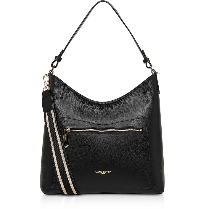 Foulonne Double Black Grained Cow Leather Shoulder Bag - Lancaster Paris