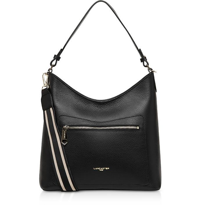 Foulonne Double Black Grained Cow Leather Shoulder Bag - Lancaster Paris / ランカスター パリ