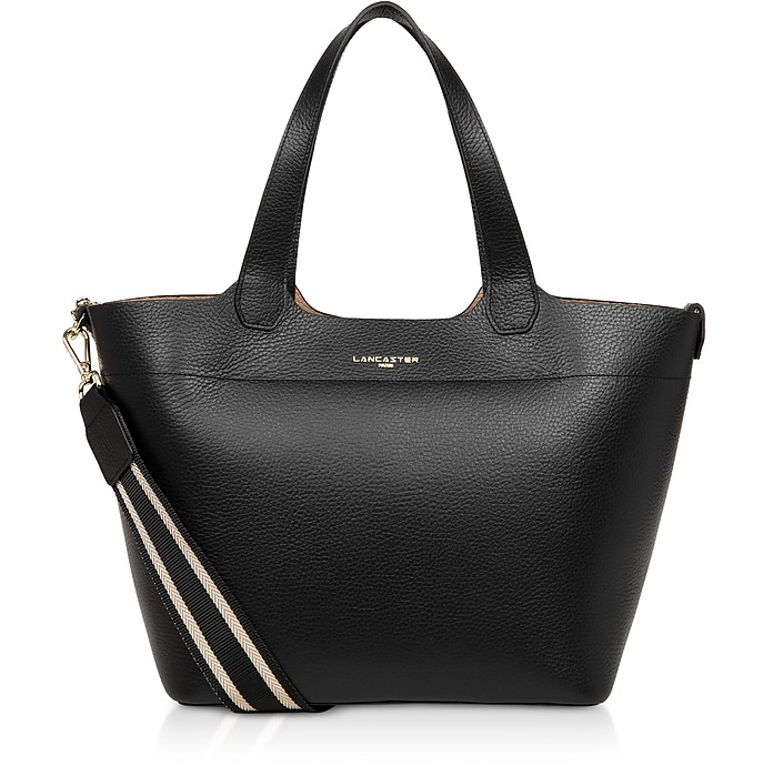 Foulonne Double Black Grained Cow Leather Tote Bag - Lancaster Paris