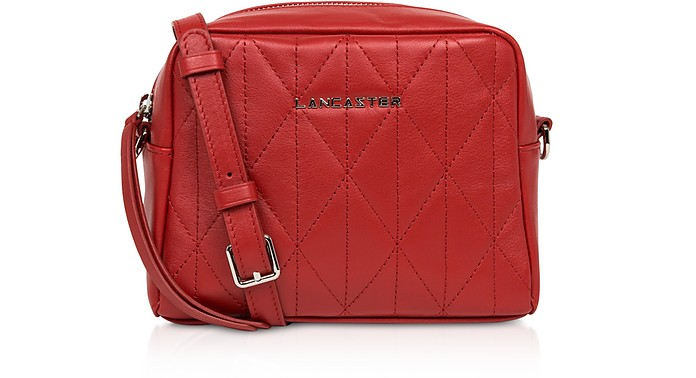 Parisienne Matelassé Red Leather Shoulder Bag - Lancaster Paris