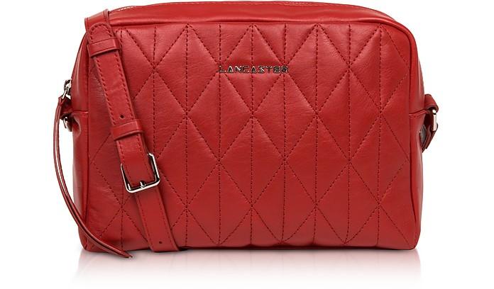 Parisienne Matelassé Red Leather Large Shoulder Bag - Lancaster Paris