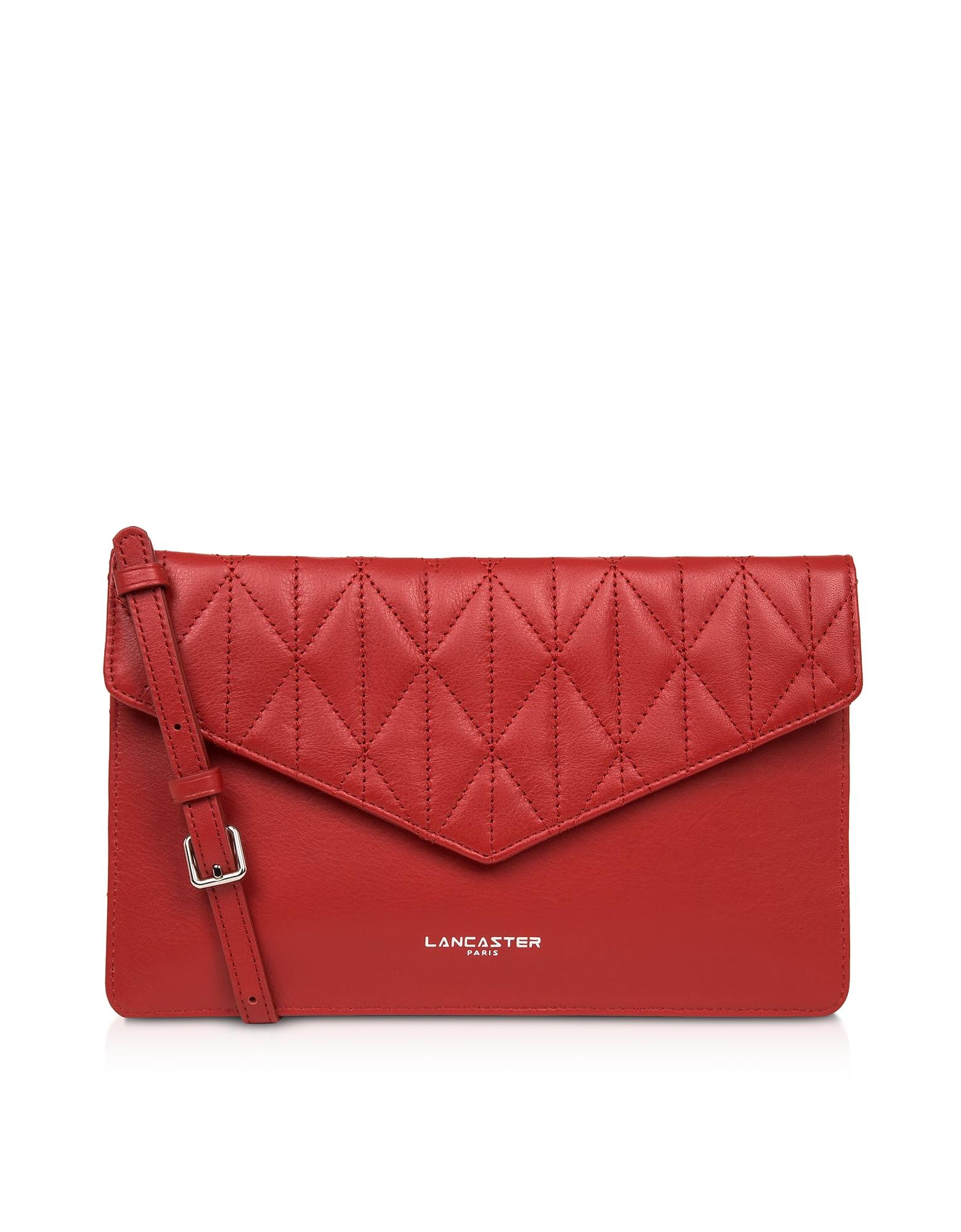Lancaster Parisienne Matelassé Leather Clutch In Red
