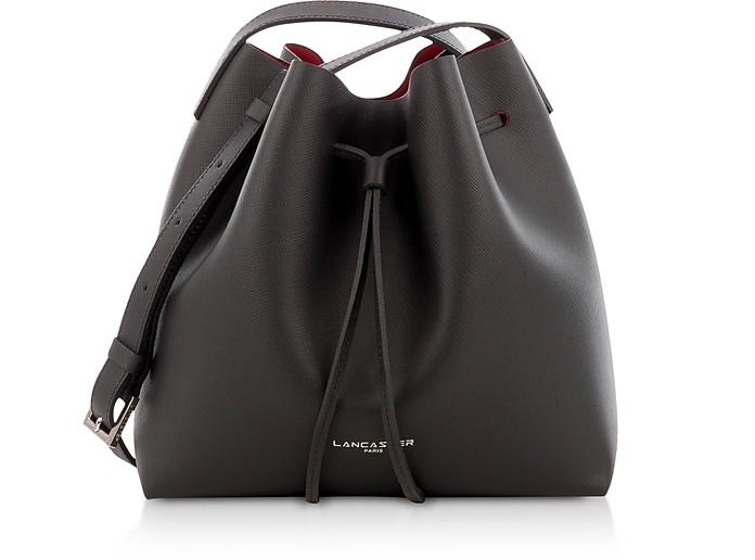 Pur & Element Bucket Handtasche aus Saffianleder in schwarz/rubinrot - Lancaster Paris