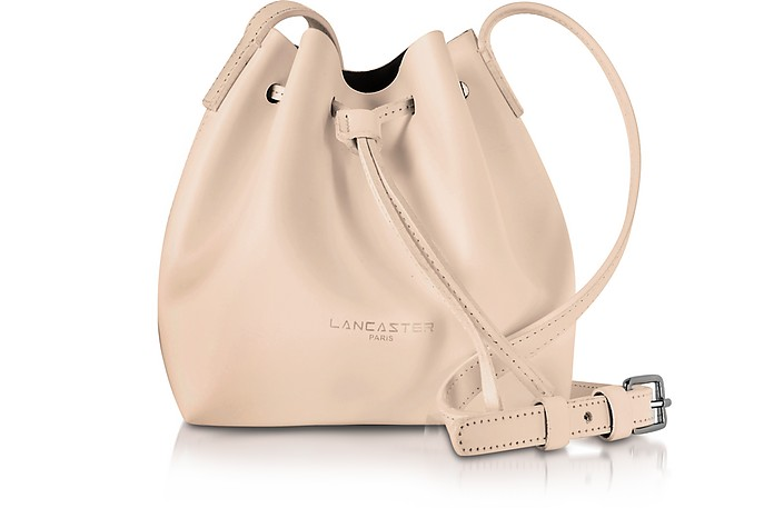 Pur Smooth Nude Leather Mini Bucket Bag - Lancaster Paris