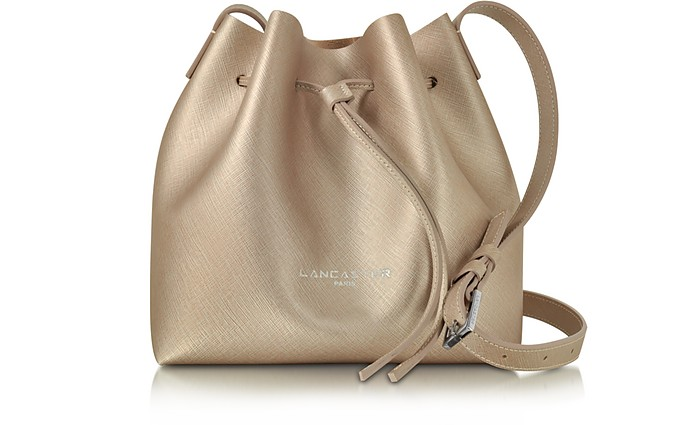 Pur & Element Champagne Saffiano Leather Mini Bucket Bag - Lancaster Paris