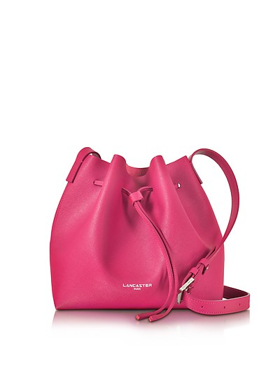 Pur & Element Fuchsia Saffiano Leather Bucket Bag - Lancaster Paris