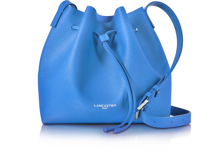 Pur Smooth Blue Leather Bucket Bag - Lancaster Paris