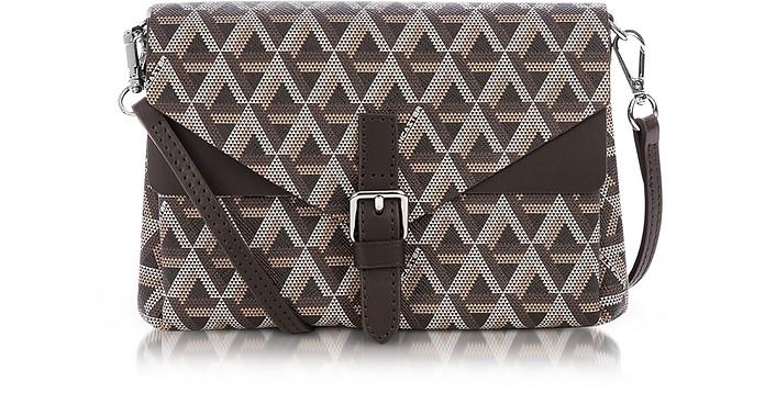 Ikon Coated Canvas and Leather Mini Clutch - Lancaster Paris