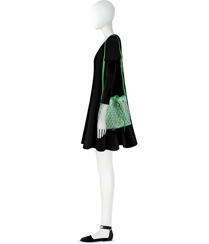 Ikon Small Secchiello in Canvas Stampato e Pelle con Tracolla Lancaster Paris Verde G5x7xgrfnK