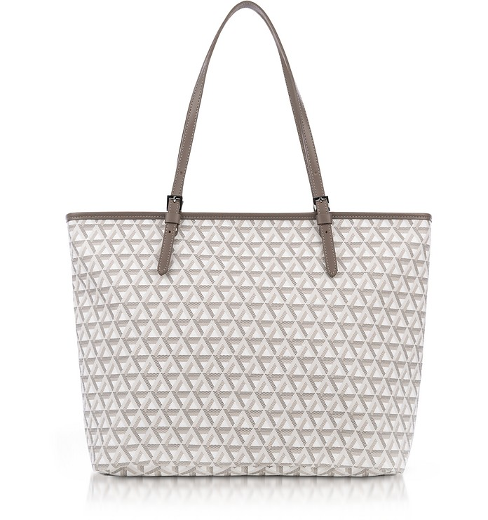 ff0d332894d2 Lancaster Paris Stone Ikon Coated Canvas and Leather Large Tote Bag ...
