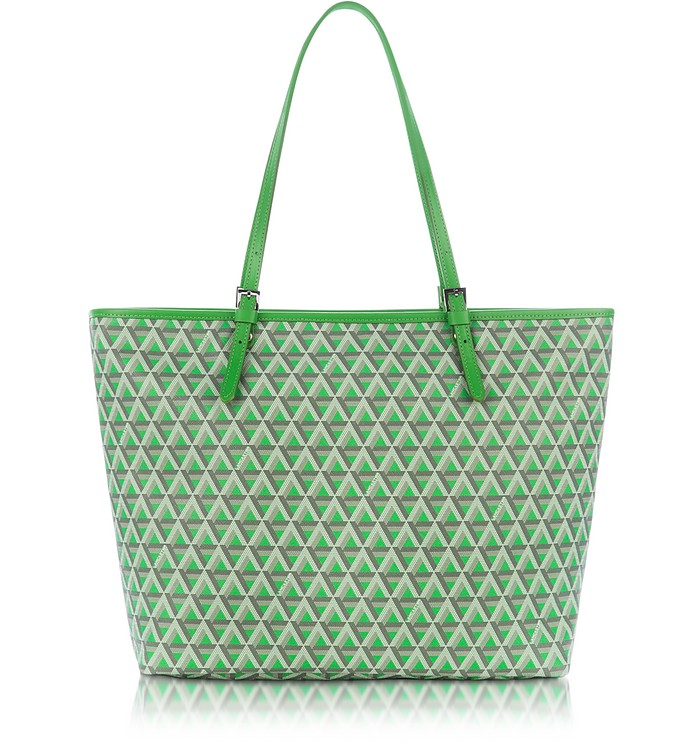 f4a30cf7aaba Lancaster Paris Green Ikon Coated Canvas and Leather Large Tote Bag ...