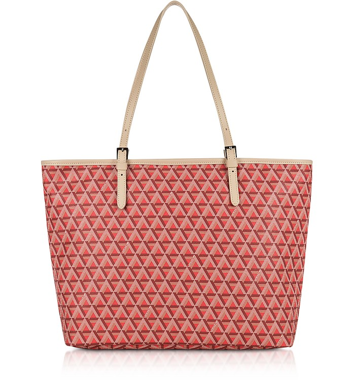 LANCASTER Ikon Large Coated Canvas Tote Bag in Red