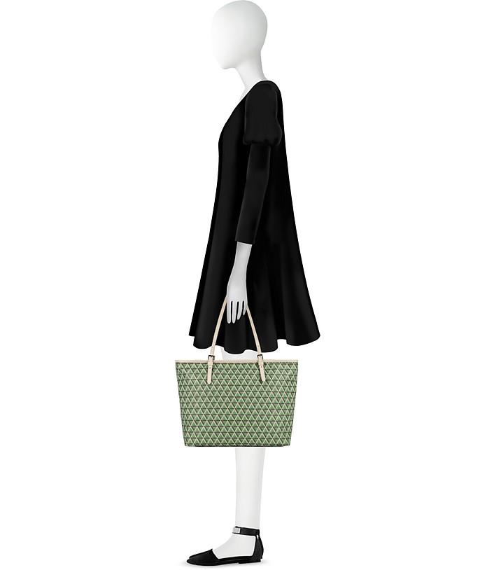 Ikon Shopper in Canvas Stampato e Pelle con Zip Lancaster Paris Verde X97tj