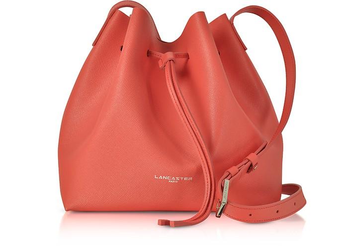 LANCASTER Pur & Element Foulonné Leather Bucket Bag in Watermelon