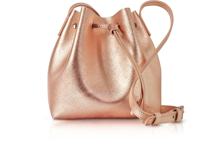 Pur Saffiano Leather Metallic Powder Pink Mini Bucket Bag - Lancaster Paris