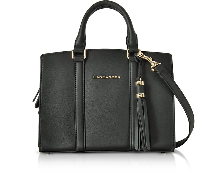 Mademoiselle Ana Black Leather Small Satchel Bag - Lancaster Paris