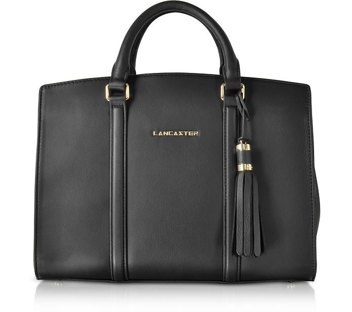 Mademoiselle Ana Black Leather Large Satchel Bag - Lancaster Paris