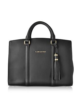 35a2859aabd741 Mademoiselle Ana Black Leather Large Satchel Bag - Lancaster Paris