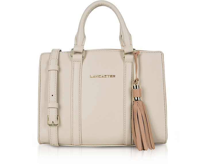 Mademoiselle Ana Beige/Nude Leather Small Satchel Bag - Lancaster Paris