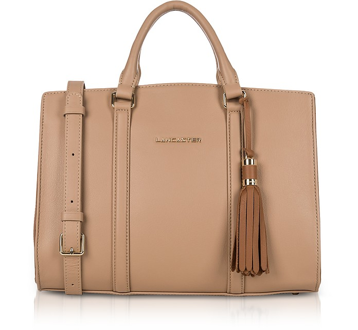 Mademoiselle Ana Nude/Hazelnut Leather Large Satchel Bag - Lancaster Paris