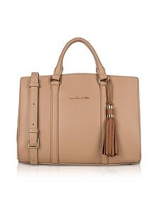 Mademoiselle Ana Nude/Hazelnut Leather Large Satchel Bag - Lancaster Paris
