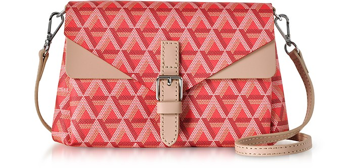 Ikon Red & Nude Coated Canvas and Leather Mini Clutch  - Lancaster Paris