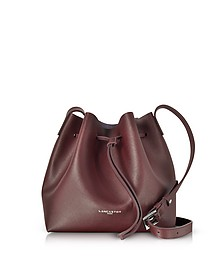 Pur & Element Burgundy Saffiano Leather Bucket Bag - Lancaster Paris
