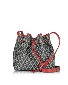 Ikon Black & Red Coated Canvas and Leather Small Bucket Bag - Lancaster Paris