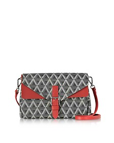 Ikon Black & Red Coated Canvas and Leather Mini Clutch - Lancaster Paris