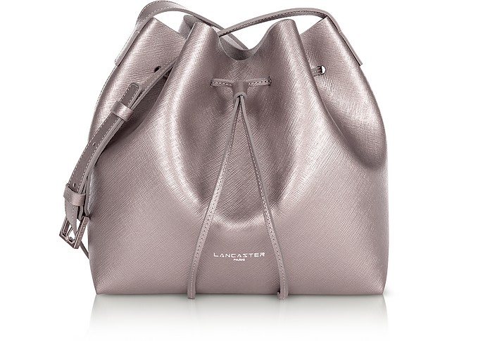 Pur & Element Metallic Saffiano Leather Small Bucket Bag - Lancaster Paris