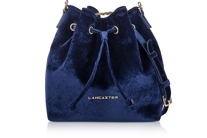 Lancaster Paris Royal Blue Velvet Small Bucket Bag at FORZIERI UK 7ddbd0d3ef84