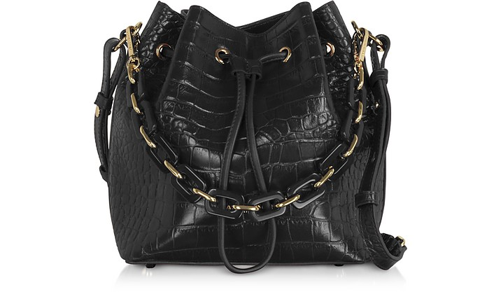 Exotic Croco Embossed Leather Bucket Bag - Lancaster Paris