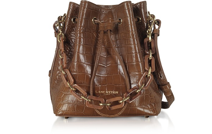 Exotic Croco Embossed Leather Bucket Bag - Lancaster Paris