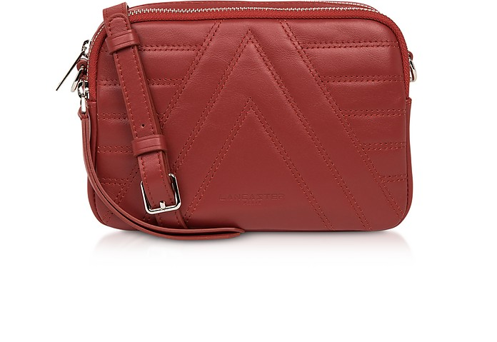 Red Parisienne Quilted Leather Crossbody Bag - Lancaster Paris