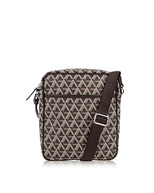 Ikon Brown Coated Canvas Men's Crossbody Bag