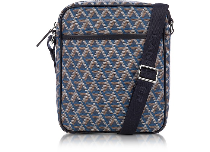 Ikon Blue Coated Canvas Men's Crossbody Bag - Lancaster Paris