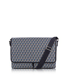 Ikon Blue Coated Canvas Men's Messenger Bag - Lancaster Paris