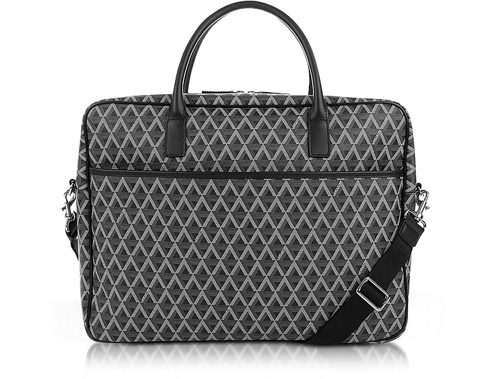 Ikon Black Coated Canvas Men's Briefcase - Lancaster Paris