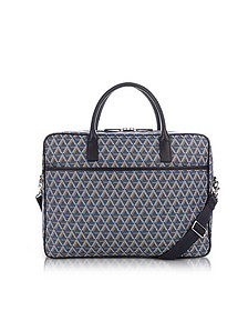 Ikon Blue Coated Canvas Men's Briefcase - Lancaster Paris