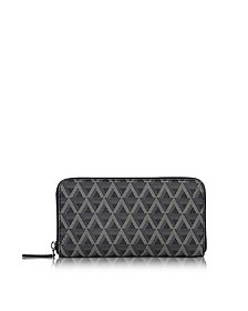 Ikon Coated Canvas and Leather Zip Around Continental Wallet - Lancaster Paris