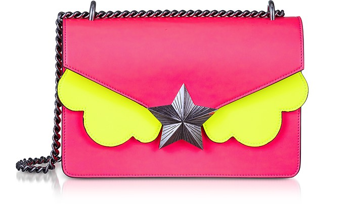 Neon Pink and Yellow Leather New Vega Medium Shoulder Bag - Les Jeunes Etoiles